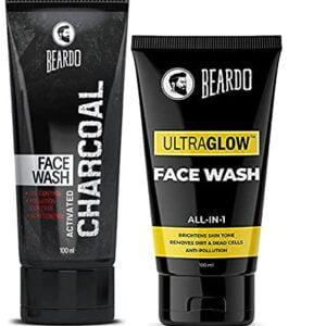 Beardo Charcoal Face Wash and BEARDO Ultraglow Face Lotion, Combo